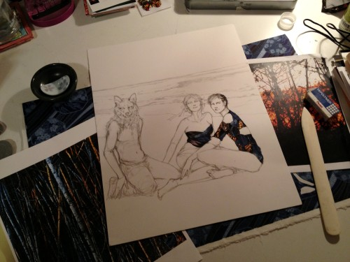 work in progress by artist Zoe Langosy with characters Coyote, Columbine and Harlequin