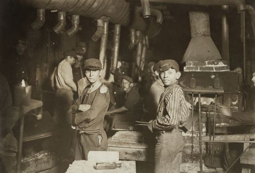 Midnight at the Glassworks by Lewis Hine