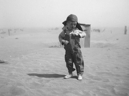 Son of farmer in dust bowl area. Cimarron County, Oklahoma , photo by Arthur Rothstein, 1936.