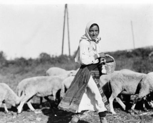 Bulgarian Shepherdess, photo taken between 1880-1924.