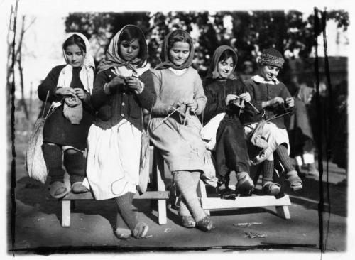 Five Girls Knitting in Albania, 1923.