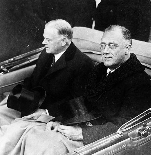 President-Elect Roosevelt traveling to inauguration with President Hoover