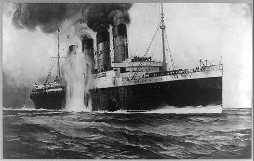 R.M.S. Lusitania, hit by torpedos off Kinsale Head, Ireland (photograph of drawing made for New York Herald and London Sphere)