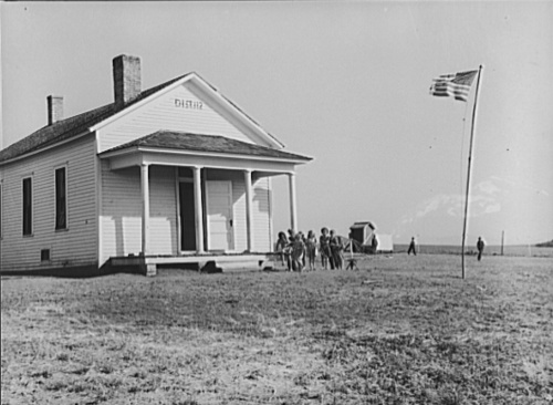 Example of one room school house in Nebraska, photographed 1938 by John Vachon