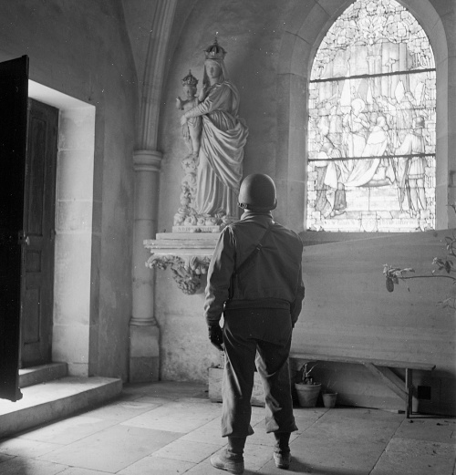 U.S. soldier in a bombed church, by Toni Frissell