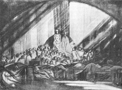 Craig's design (1908) for Hamlet 1-2 at Moscow Art Theatre, directed by Stanislavsky