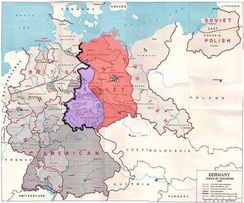 """Germany occupation zones with border"" by US Army - Modified version of http://www.globalsecurity.org/military/library/report/other/us-army_germany_1944-46_map3.htm. Licensed under Public Domain via Wikimedia Commons - http://commons.wikimedia.org/wiki/File:Germany_occupation_zones_with_border.jpg#mediaviewer/File:Germany_occupation_zones_with_border.jpg"