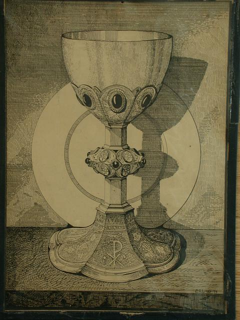 Design drawing for metalwork: Chiro chalice with grapevines