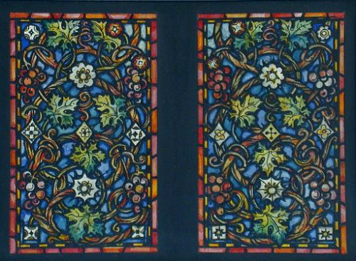 Design drawing for two stained glass windows with grapevine vegetal design