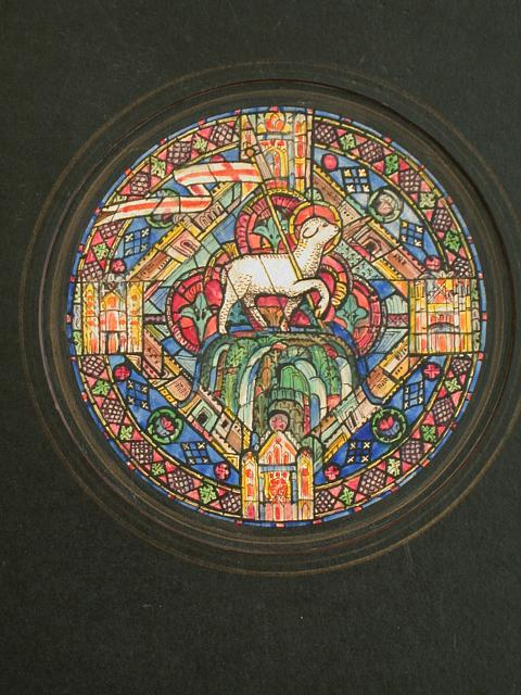 """Design drawing for stained glass tondo window """"The Lamb on Mount Zion and Four-Square City of New Jerusalem"""" showign lamb with and elaborate detailing including grape/leaf border and Jerusalem/architectural motif"""