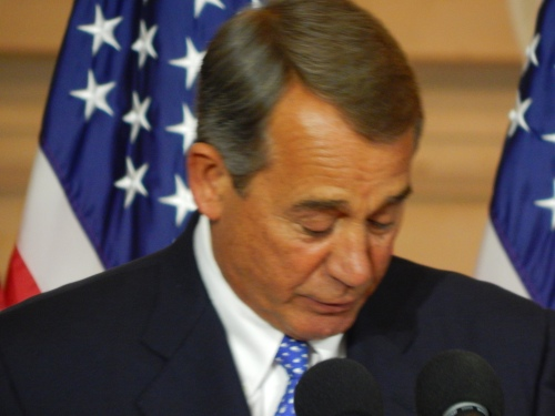 Speaker of the House John A. Boehner about to present the gold medal.