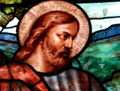 "detail from ""jesus the good shepherd""by john la farge"