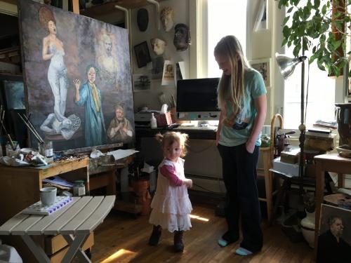 grandchildren in the studio
