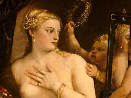 Detail from Venus with a Mirror by Titian, at the MFA 2009 Exhibit