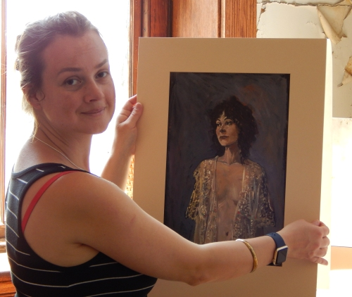 Zoe with her father's portrait of Elizabeth