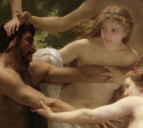 detail from nymphs and satyr by bouguereau